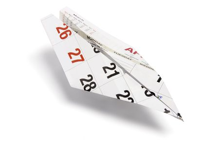 Calendar Paper Plane on White Background Stock Photo - 6231939