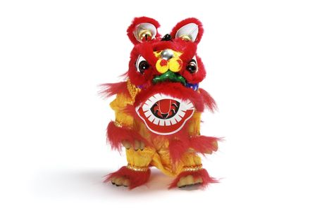 lion figurines: Lion Dancing on White Isolated Background