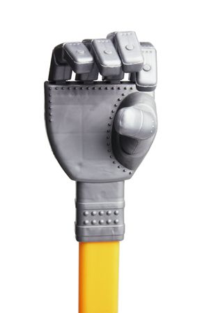 Close Up of Toy Robot Hand on White Background Stock Photo - 6292128