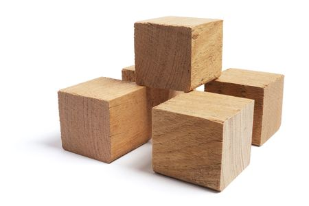 Wooden Blocks on White Background photo
