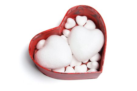 Love Hearts in Gift Box on White Background Stock Photo - 6292182