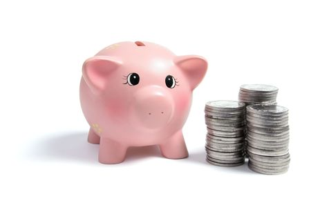 Piggybank and Coins on White Background Stock Photo - 6357130