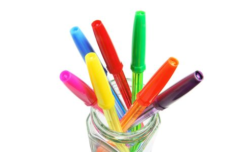 ball pens stationery: Cierre arriba de plumas de bol�grafo en Glass Jar