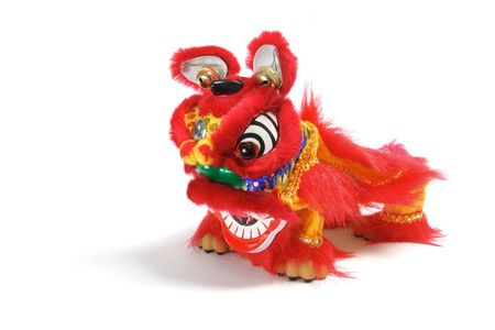 head toy: Lion Dancing on Isolated White Background