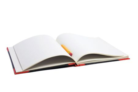 note book: Matita e note book su sfondo bianco