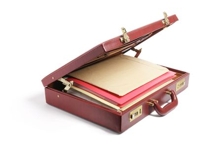 File Folders in Briefcase on White Background photo
