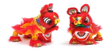lunar new year: Chinese Lion Dance on White Background