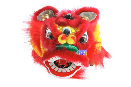 Chinese Lion Dance on White Background