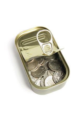 sardine can: Coins in Tin Can on White Background Stock Photo