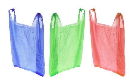 Plastic Shopping Bags on Isolated White Background Stock Photo - 6486449