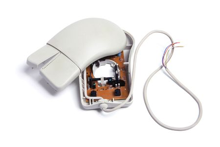 Broken Computer Mouse on White Background photo