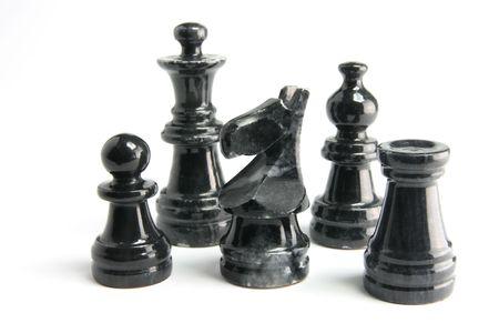 Chess Pieces on White Background Stock Photo - 6486427