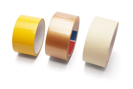 roll out: Rolls of Packing Tape on White Background