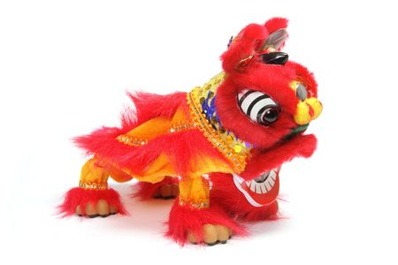 lion figurines: Lion Dancing on Isolated White Background