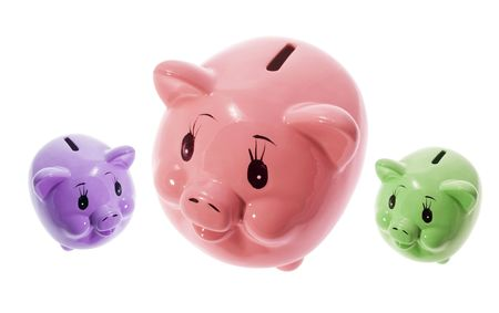 thrifty: Piggy Banks on Isolated White Background Stock Photo
