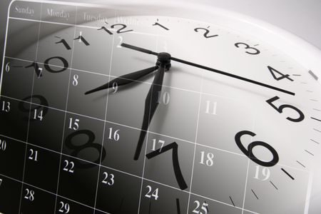 timing: Composite of Clock and Calendar Stock Photo
