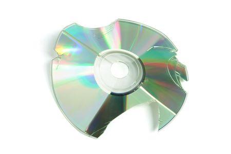 Broken CD on White Background photo
