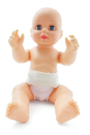 Plastic Baby Doll on Isolated White Background photo