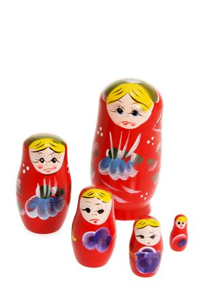 Russian Nesting Dolls on White Background Stock Photo - 6627470