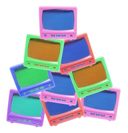 telly: Plastic Miniature TV Sets on White Background