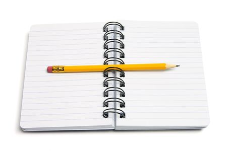 Pencil and Notebook on White Background photo