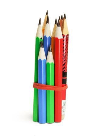 Bundle of Pencils with Rubberband on White Background photo