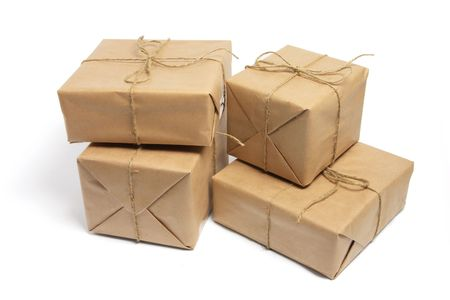 Brown Packages on White Background Stock Photo
