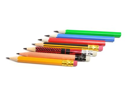 Row of Pencils on Isolated White Background Stock Photo - 6753869