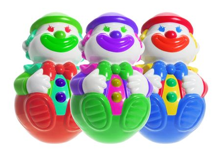 wobble: Roly-Poly Toy Clowns on White Background