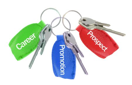 Keys with Leather Tag on White Background