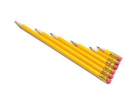 Row of Pencils on White Background Stock Photo - 6784706