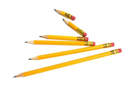 Long and Short Pencils on White Background Stock Photo - 6784618