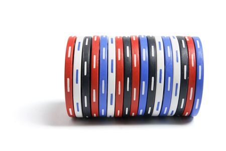 Stack of Poker Chips on White Background photo