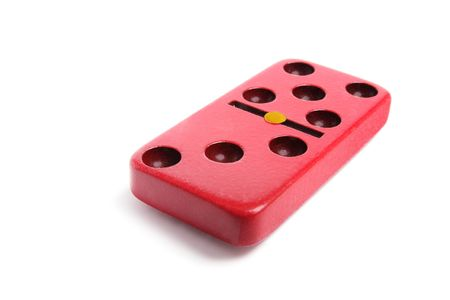 Red Domino on Isolated White Background photo