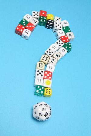 Dice in Question Mark Shape on Blue Background Stock Photo - 6784737