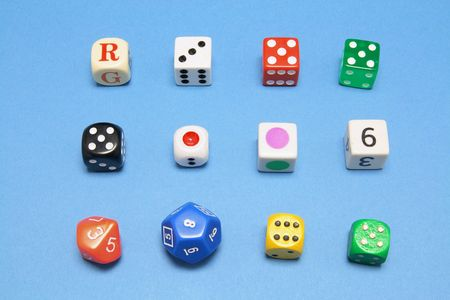 Collection of Dice on Blue Background Stock Photo - 6784723