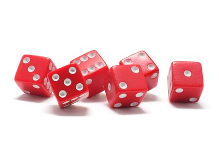 Red Dice on White Background photo