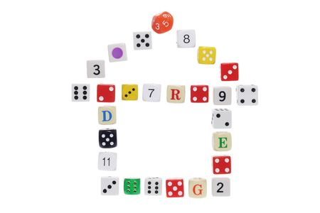 Dice in House Shape on White Background Stock Photo - 6784709