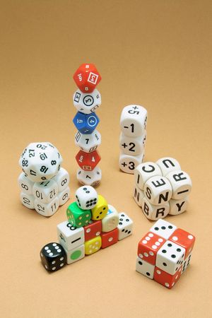 Collection of Dice on Warm Background Stock Photo - 6784633