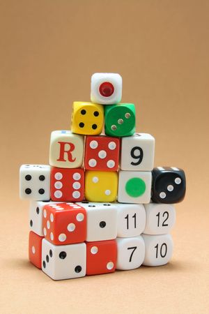 Collection of Dice on Warm Background Stock Photo - 6784724