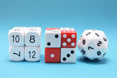 Dice on Blue Background Stock Photo - 6784715