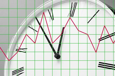 timely: Close Up of Clock Face and Graph