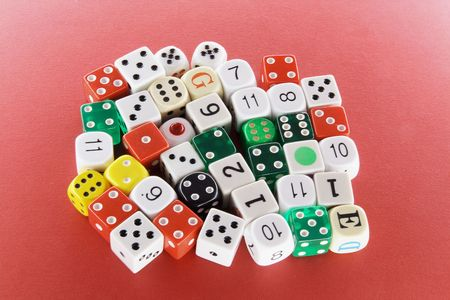Collection of Dice on Red Background Stock Photo - 6821449