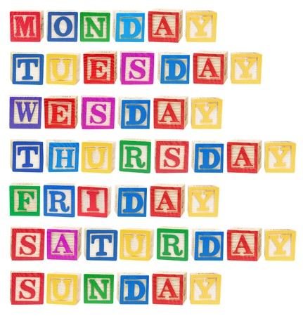 Days of the Week on White Background photo