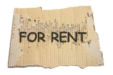 taint: For Rent Sign on White Background