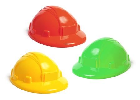 hard hats: Toy Hard Hats on White Background