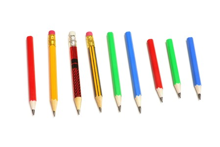 Row of Pencils on White Background Stock Photo - 6847731