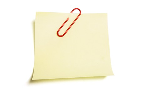 Empty Post it Note on White Background Stock Photo - 6847780