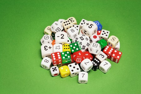 Collection of Dice on Green Background Stock Photo - 6946041