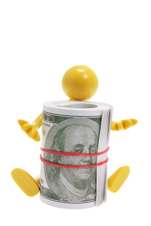 Miniature Figure with Dollar Notes on White Background photo
